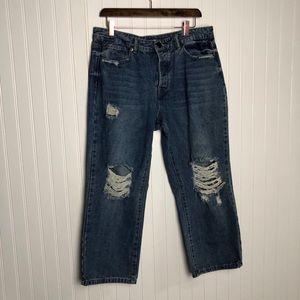 Fashion nova button fly distressed mom jeans